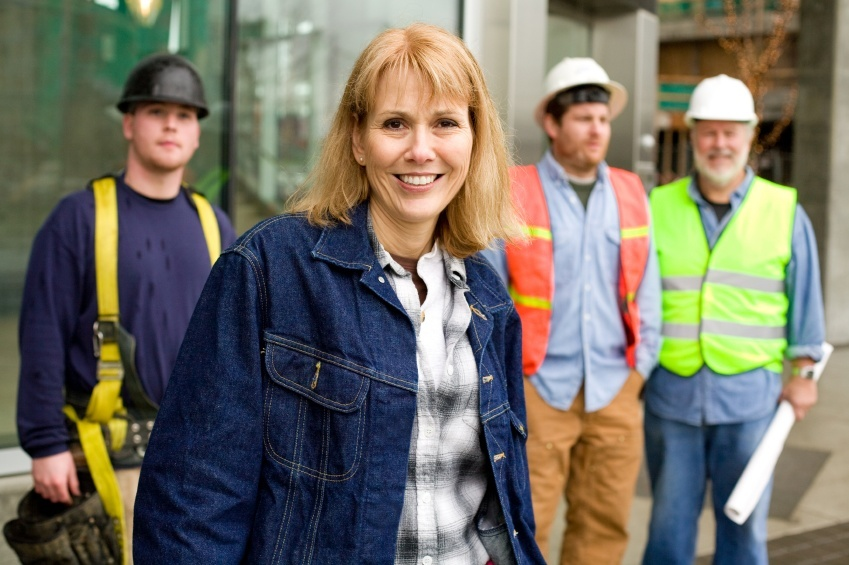 photo of woman construction worker